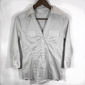 New York & Company Stretch Striped Button Down